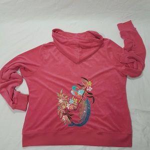 BCBGMAXAZRIA Pink Embroidered Hoodie size 1X